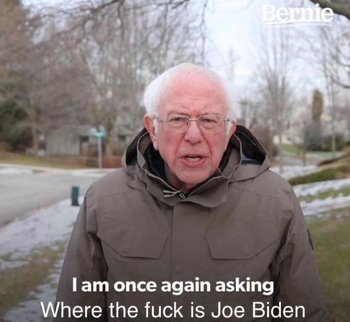 Photo caption - Bernie Iam once again asking Where the fuck is Joe Biden