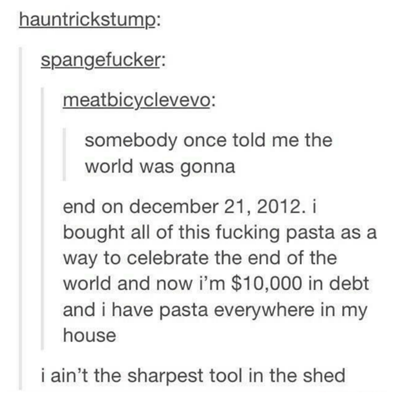 Text - hauntrickstump: spangefucker: meatbicyclevevo: somebody once told me the world was gonna end on december 21, 2012. i bought all of this fucking pasta as a way to celebrate the end of the world and now i'm $10,000 in debt and i have pasta everywhere in my house i ain't the sharpest tool in the shed