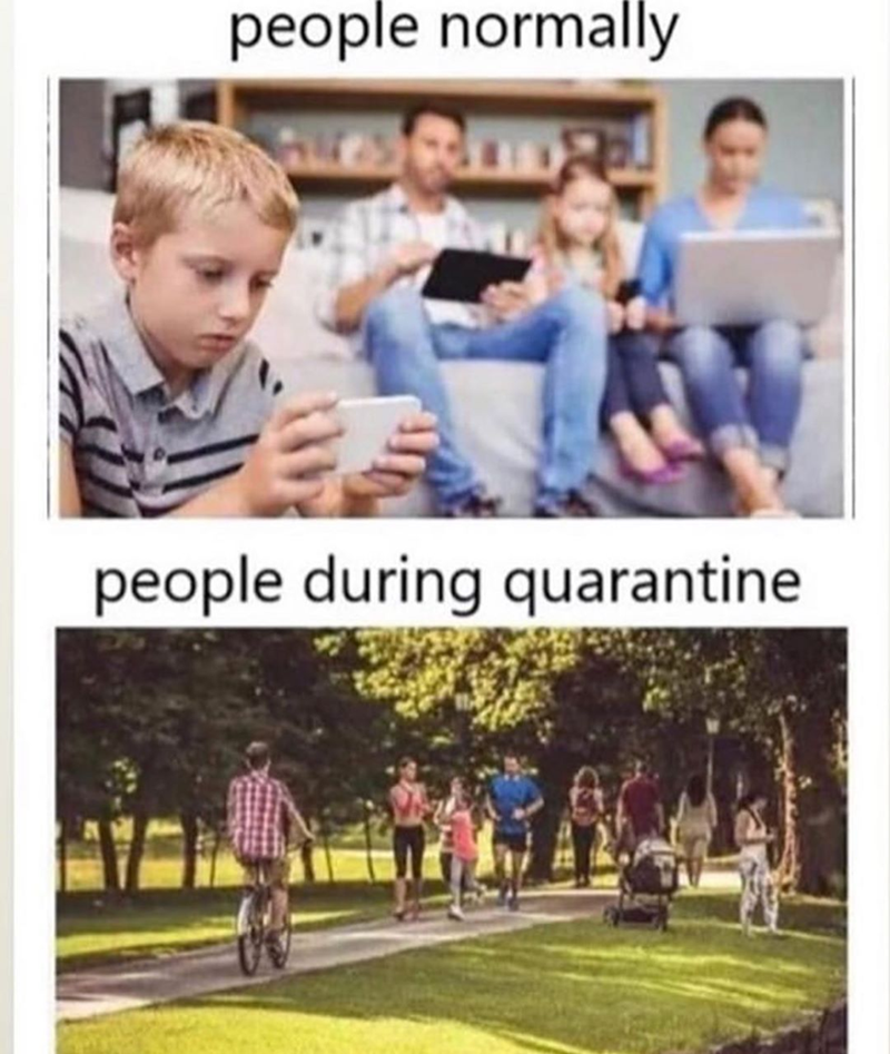 Funny meme about coronavirus, covid-19, quarantine, people with coronavirus just want to go outside | people normally people during quarantine