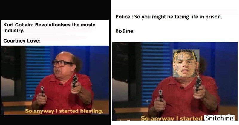 "Funny dank memes entitled, ""So Anyway, I Started Blasting"" featuring Danny DeVito"