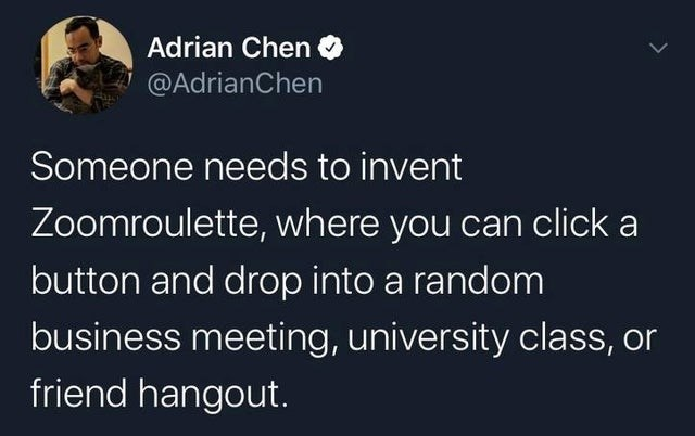 Text - Adrian Chen @AdrianChen Someone needs to invent Zoomroulette, where you can click a button and drop into a random business meeting, university class, or friend hangout.