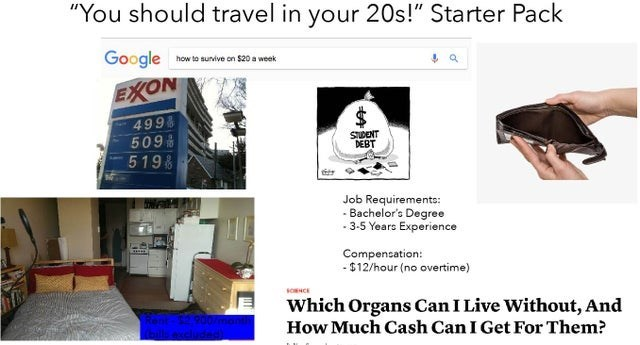 "Room - ""You should travel in your 20s!"" Starter Pack Google how to sunvive on $20 a week EXON 4998 509 519 SUDENT DEBT Job Requirements: - Bachelor's Degree - 3-5 Years Experience Compencation: - $12/hour (no overtime) SOCE Which Organs Can I Live Without, And How Much Cash Can I Get For Them? %24"