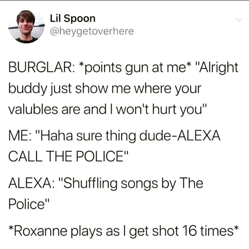 "Text - Lil Spoon @heygetoverhere BURGLAR: *points gun at me* ""Alright buddy just show me where your valubles are and I won't hurt you"" ME: ""Haha sure thing dude-ALEXA CALL THE POLICE"" ALEXA: ""Shuffling songs by The Police"" *Roxanne plays as I get shot 16 times*"