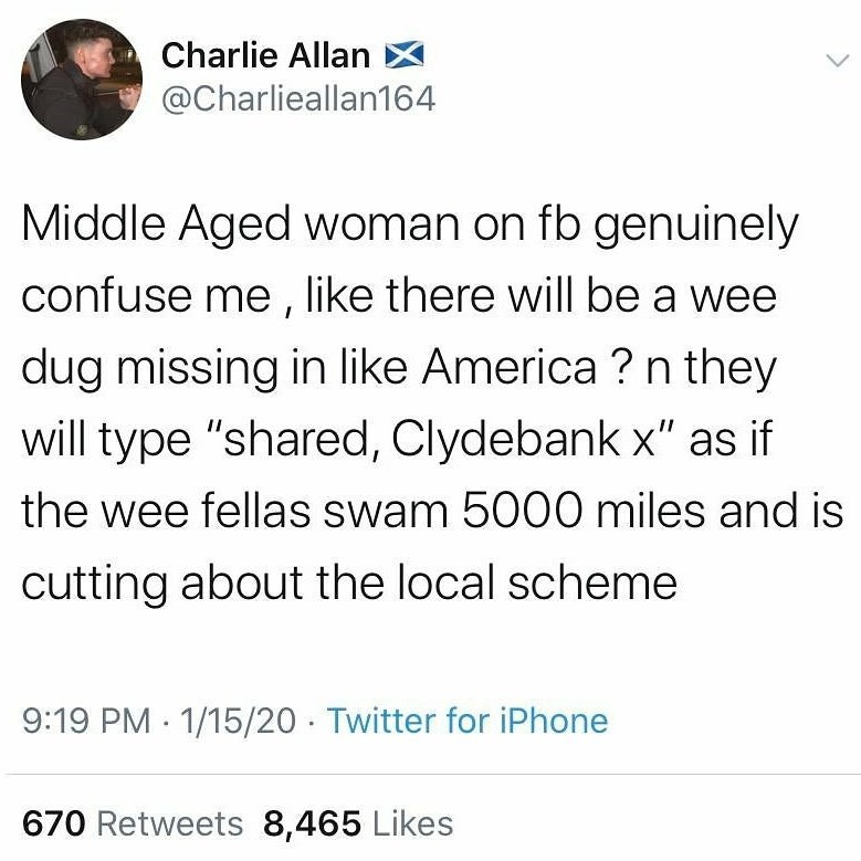 "Text - Charlie Allan X @Charlieallan164 Middle Aged woman on fb genuinely confuse me , like there will be a wee dug missing in like America ? n they will type ""shared, Clydebank x"" as if the wee fellas swam 5000 miles and is cutting about the local scheme 9:19 PM 1/15/20 - Twitter for iPhone 670 Retweets 8,465 Likes"