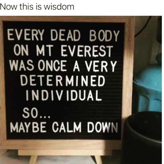 Font - Now this is wisdom EVERY DEAD BODY ON MT EVEREST WAS ONCE A VERY DETERMINED INDIVIDUAL SO.. MAY BE CALM DOWN