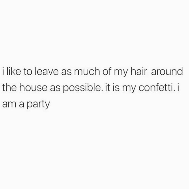 Text - i like to leave as much of my hair around the house as possible. it is my confetti. i am a party