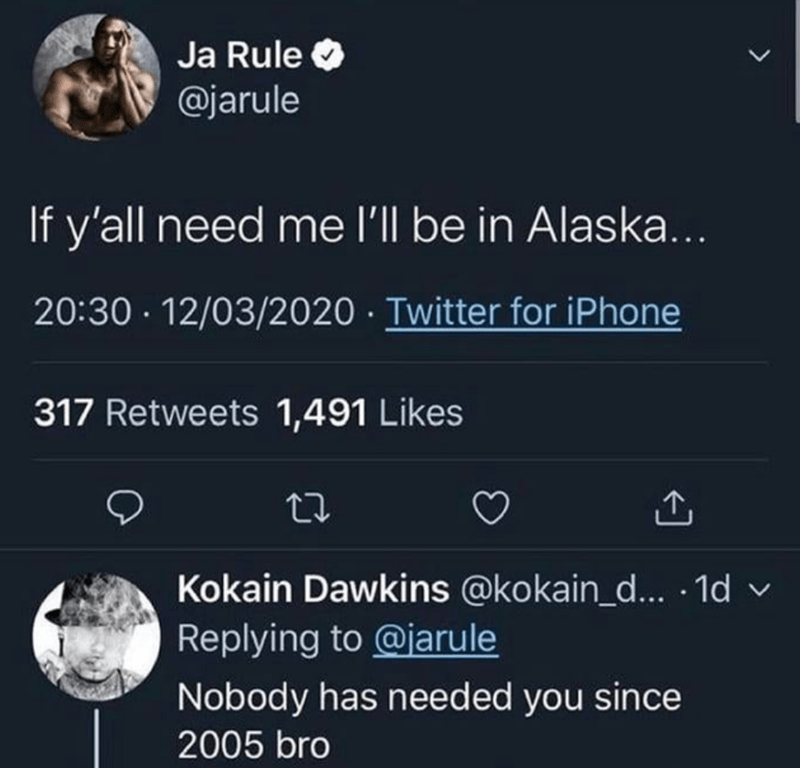 Text - Text - Ja Rule O @jarule If y'all need me l'll be in Alaska... 20:30 · 12/03/2020 · Twitter for iPhone 317 Retweets 1,491 Likes Kokain Dawkins @kokain_d... 1d v Replying to @jarule Nobody has needed you since 2005 bro