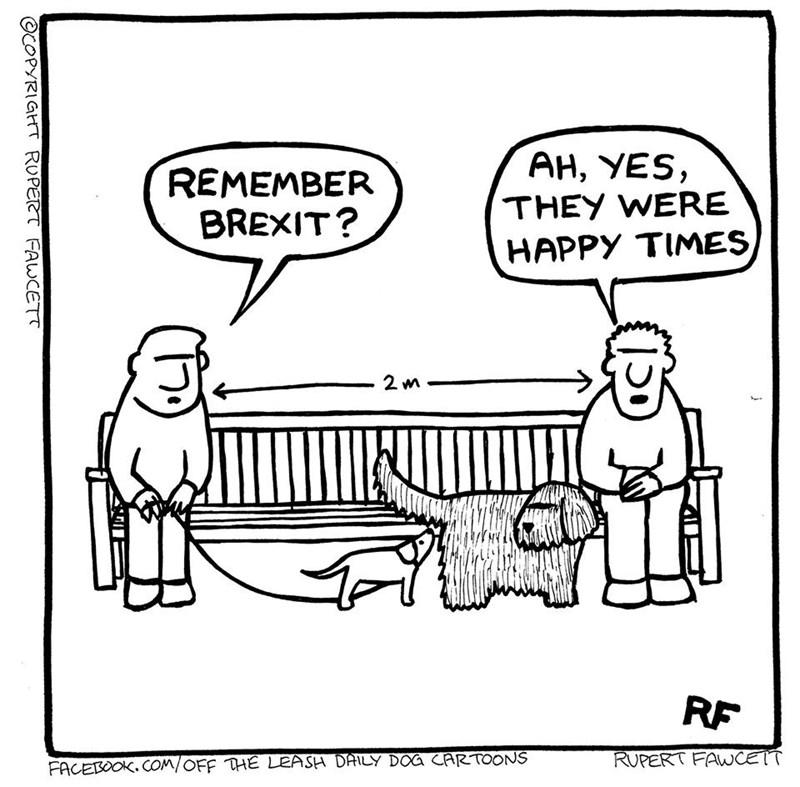 Cartoon - REMEMBER BREXIT? AH, YES, THEY WERE HAPPY TIMES RF RUPERT FAWCETT FACEBOOK. COM/OFF THE LEASH DAILY DOG CARTOONS ©COPYRIGHT RUPERT FAWCETT