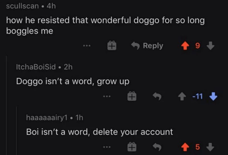 Text - scullscan • 4h how he resisted that wonderful doggo for so long boggles me Reply ItchaBoiSid • 2h Doggo isn't a word, grow up ↑ -11 haaaaaairy1 • 1h Boi isn't a word, delete your account