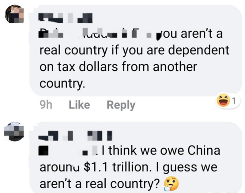 Text - uuLu if . you aren't a real country if you are dependent on tax dollars from another country. 01 9h Like Reply I think we owe China arounu $1.1 trillion. I guess we aren't a real country? 9