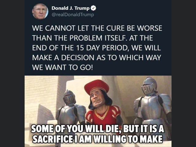 Text - Donald J. Trump @realDonald Trump WE CANNOT LET THE CURE BE WORSE THAN THE PROBLEM ITSELF. AT THE END OF THE 15 DAY PERIOD, WE WILL MAKE A DECISION AS TO WHICH WAY WE WANT TO GO! SOME OF YOU WILL DIE, BUT IT IS A SACRIFICE IAM WILLING TO MAKE