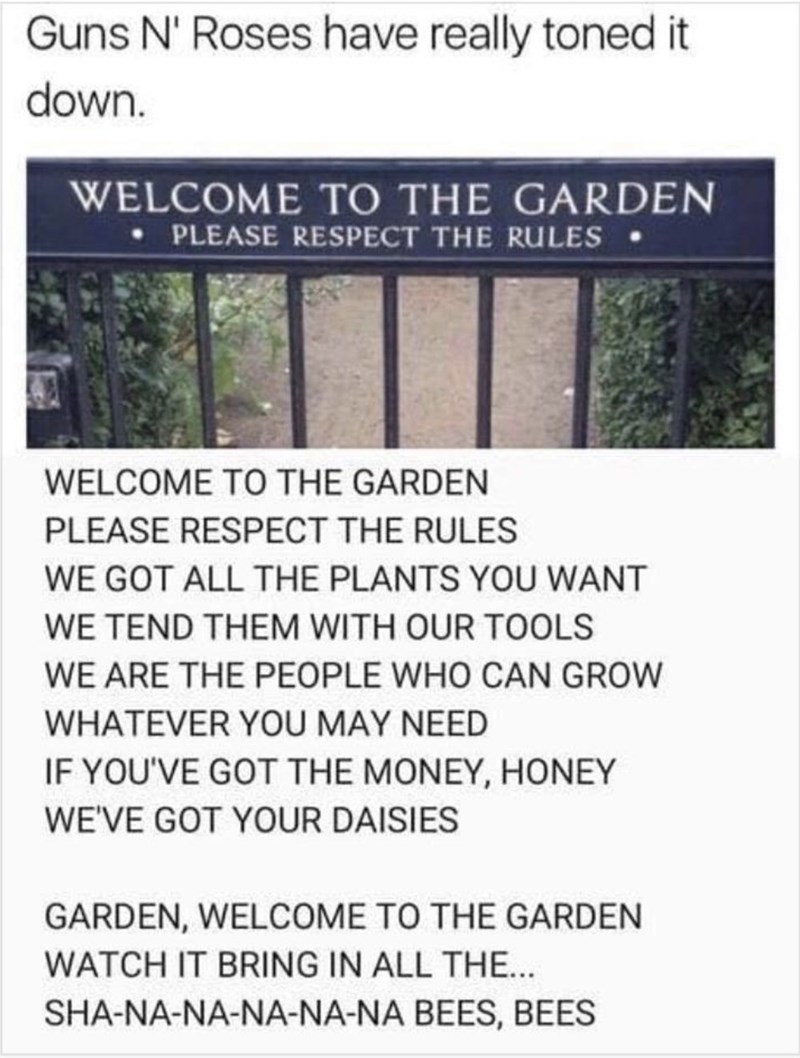 Text - Text - Guns N' Roses have really toned it down. WELCOME TO THE GARDEN • PLEASE RESPECT THE RULES• WELCOME TO THE GARDEN PLEASE RESPECT THE RULES WE GOT ALL THE PLANTS YOU WANT WE TEND THEM WITH OUR TOOLS WE ARE THE PEOPLE WHO CAN GROW WHATEVER YOU MAY NEED IF YOU'VE GOT THE MONEY, HONEY WE'VE GOT YOUR DAISIES GARDEN, WELCOME TO THE GARDEN WATCH IT BRING IN ALL THE.. SHA-NA-NA-NA-NA-NA BEES, BEES