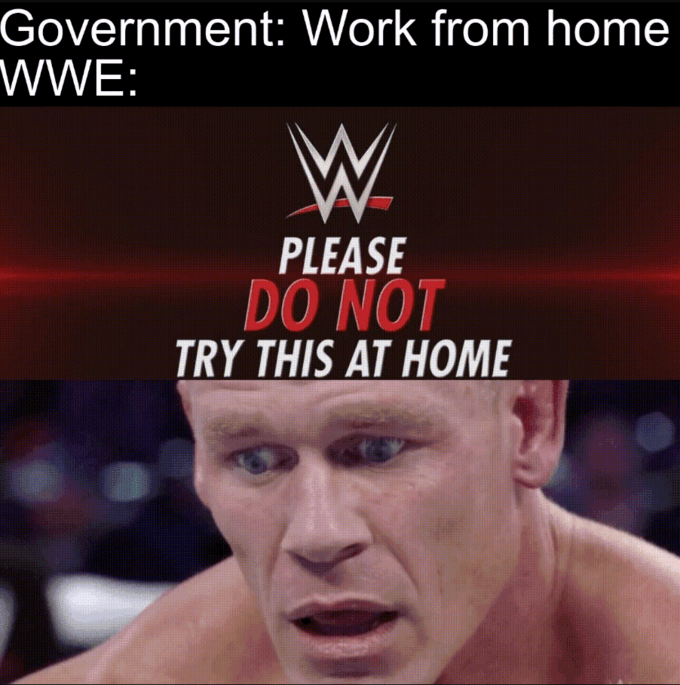 Internet meme - Government: Work from home WWE: W. PLEASE DO NOT TRY THIS AT HOME