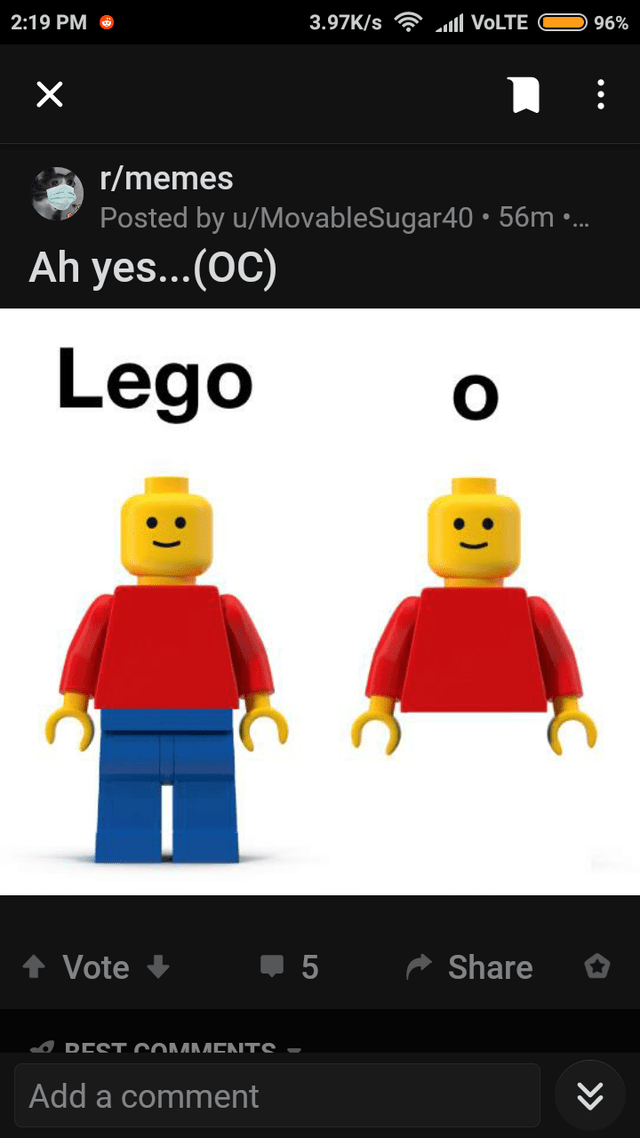 Text - Cartoon - 2:19 PM 3.97K/s ll VOLTE 96% r/memes Posted by u/MovableSugar40 • 56m .. Ah yes...(OC) Lego Vote Share I DEST COMMENTS - Add a comment