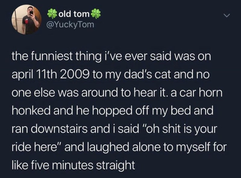 """Text - old tom @YuckyTom the funniest thing i've ever said was on april 11th 2009 to my dad's cat and no one else was around to hear it. a car horn honked and he hopped off my bed and ran downstairs and i said """"oh shit is your ride here"""" and laughed alone to myself for like five minutes straight"""