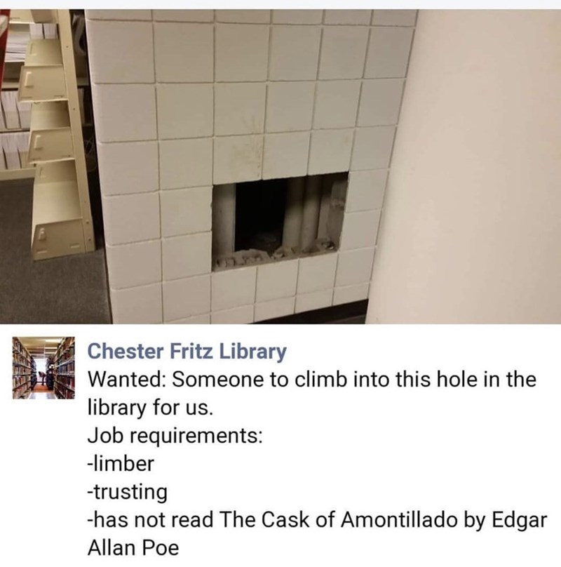 Property - Chester Fritz Library Wanted: Someone to climb into this hole in the library for us. Job requirements: -limber -trusting -has not read The Cask of Amontillado by Edgar Allan Poe