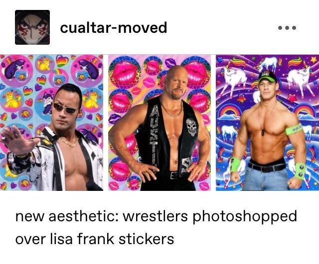 Muscle - cualtar-moved new aesthetic: wrestlers photoshopped over lisa frank stickers