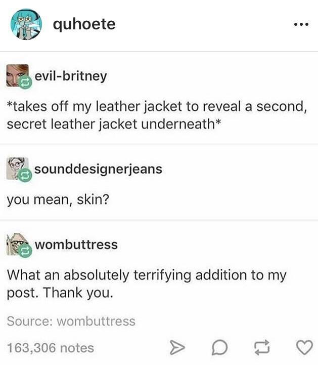 Text - quhoete evil-britney *takes off my leather jacket to reveal a second, secret leather jacket underneath* sounddesignerjeans you mean, skin? wombuttress What an absolutely terrifying addition to my post. Thank you. Source: wombuttress 163,306 notes