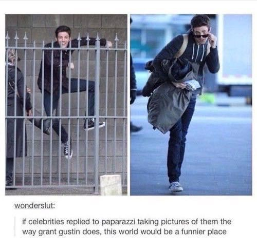 Hood - wonderslut: if celebrities replied to paparazzi taking pictures of them the way grant gustin does, this world would be a funnier place