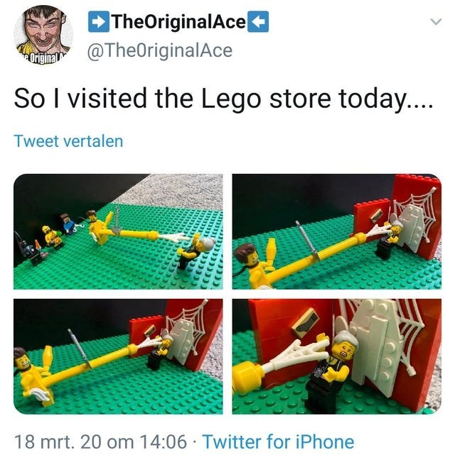 Product - TheOriginalAce u @TheOriginalAce So I visited the Lego store today.. Tweet vertalen 18 mrt. 20 om 14:06 · Twitter for iPhone