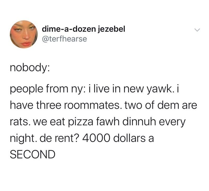 Text - dime-a-dozen jezebel @terfhearse nobody: people from ny: i live in new yawk. i have three roommates. two of dem are rats. we eat pizza fawh dinnuh every night. de rent? 4000 dollars a SECOND