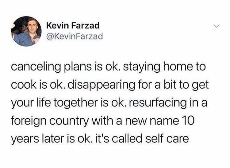 Text - Kevin Farzad @KevinFarzad canceling plans is ok. staying home to cook is ok. disappearing for a bit to get your life together is ok. resurfacing in a foreign country with a new name 10 years later is ok. it's called self care