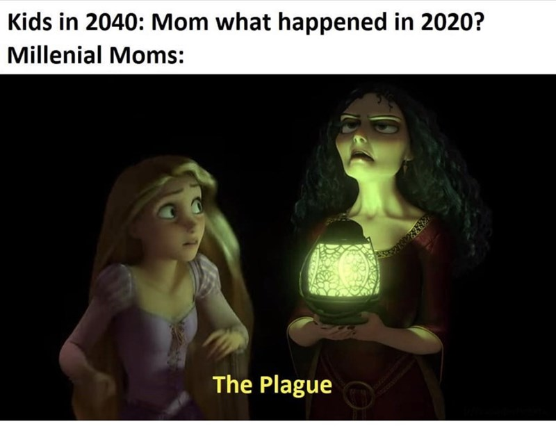 Text - Kids in 2040: Mom what happened in 2020? Millenial Moms: The Plague