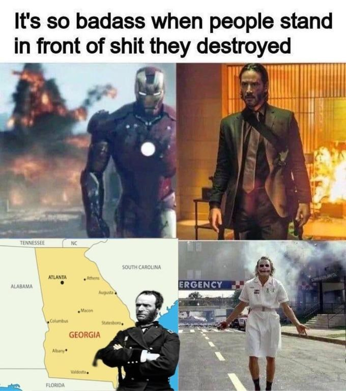 Fictional character - It's so badass when people stand in front of shit they destroyed TENNESSEE NC SOUTH CAROLINA ATLANTA ALABAMA ERGENCY Augusta Columbus Statesboro GEORGIA Altany Valdosta FLORIDA