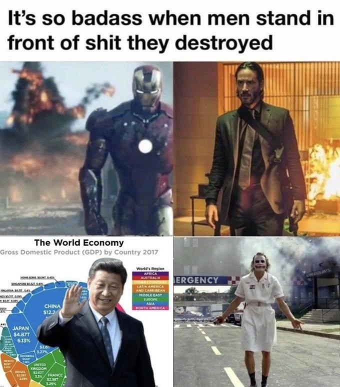 Fictional character - It's so badass when men stand in front of shit they destroyed The World Economy Gross Domestic Product (GDP) by Country 2017 World's Region AFRICA AUSTRALIA ERGENCY LATIN AMECA AND CARRIBEAN HIDDLE EAST EUBOPE ASIA CHINA $12.2 NORTH AMERICA JAPAN $4.87T 6.13% $261 327% COOMESIA HEXCO UNITED KINGDOH FRANCE $2.58T 3.25%