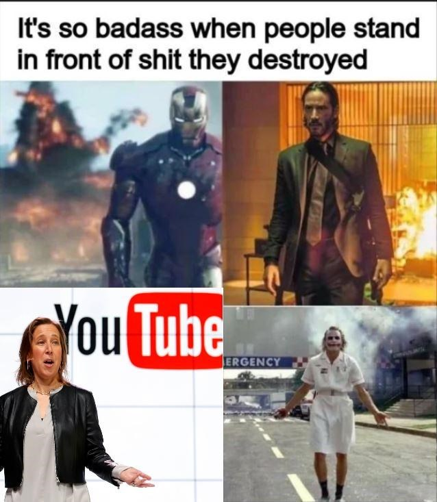 Fictional character - It's so badass when people stand in front of shit they destroyed You Tube ERGENCY