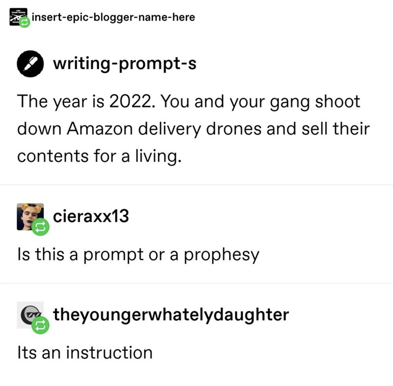 Text - TRA insert-epic-blogger-name-here writing-prompt-s The year is 2022. You and your gang shoot down Amazon delivery drones and sell their contents for a living. cieraxx13 Is this a prompt or a prophesy theyoungerwhatelydaughter Its an instruction