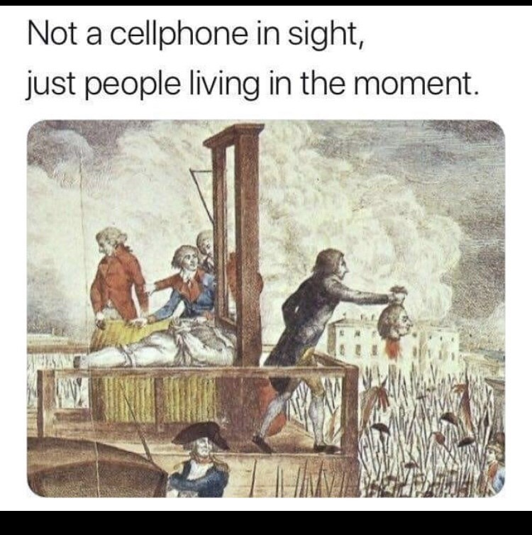 Text - Cartoon - Not a cellphone in sight, just people living in the moment.