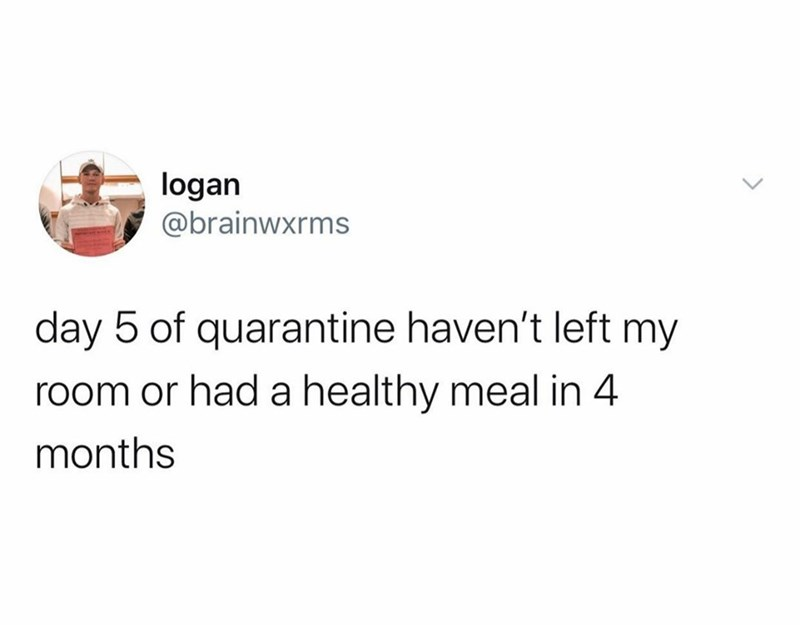 Text - Text - logan @brainwxrms day 5 of quarantine haven't left my room or had a healthy meal in 4 months