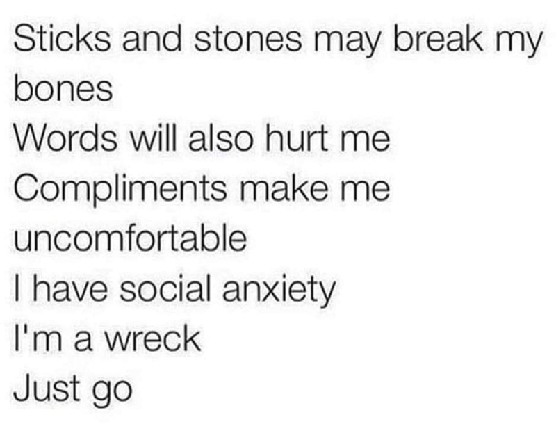 Text - Text - Sticks and stones may break my bones Words will also hurt me Compliments make me uncomfortable I have social anxiety I'm a wreck Just go