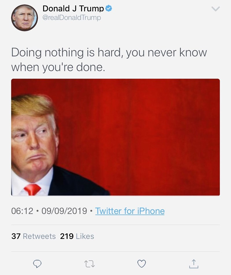 Text - Text - Donald J Trump @realDonald Trump Doing nothing is hard, you never know when you're done. 06:12 • 09/09/2019 • Twitter for iPhone 37 Retweets 219 Likes