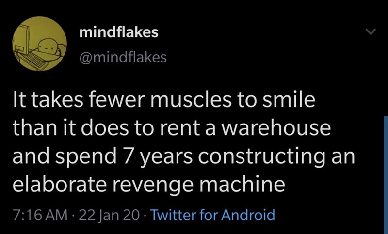 Text - Text - mindflakes @mindflakes It takes fewer muscles to smile than it does to rent a warehouse and spend 7 years constructing an elaborate revenge machine 7:16 AM · 22 Jan 20 · Twitter for Android