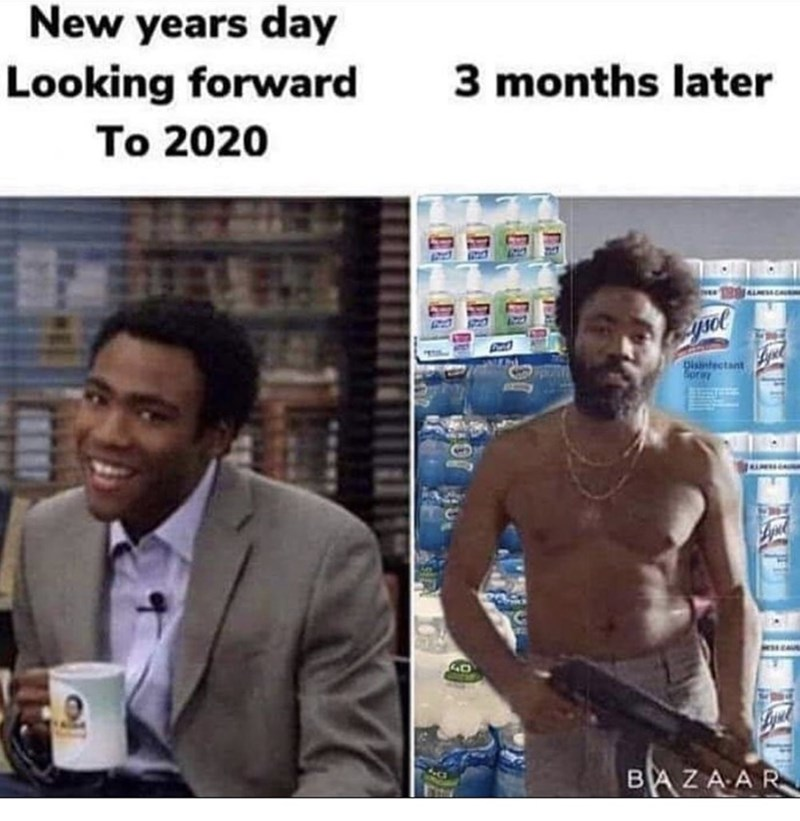 Text - Human - New years day Looking forward 3 months later To 2020 Disntectant BAZAAR
