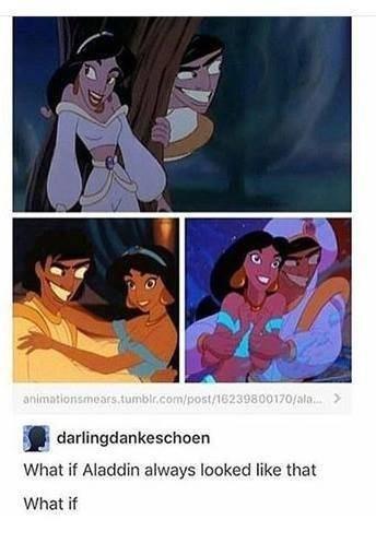 Text - Cartoon - animationsmears.tumblr.com/post/16239800170/ala. > darlingdankeschoen What if Aladdin always looked like that What if