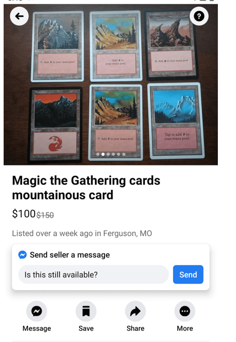 Text - Add a to your mana poel Add vour mana pool AMto your mana pool Tap to add a to your mana pool. Add a to your mana pool. Magic the Gathering cards mountainous card $100$150 Listed over a week ago in Ferguson, MO Send seller a message Is this still available? Send Message Save Share More
