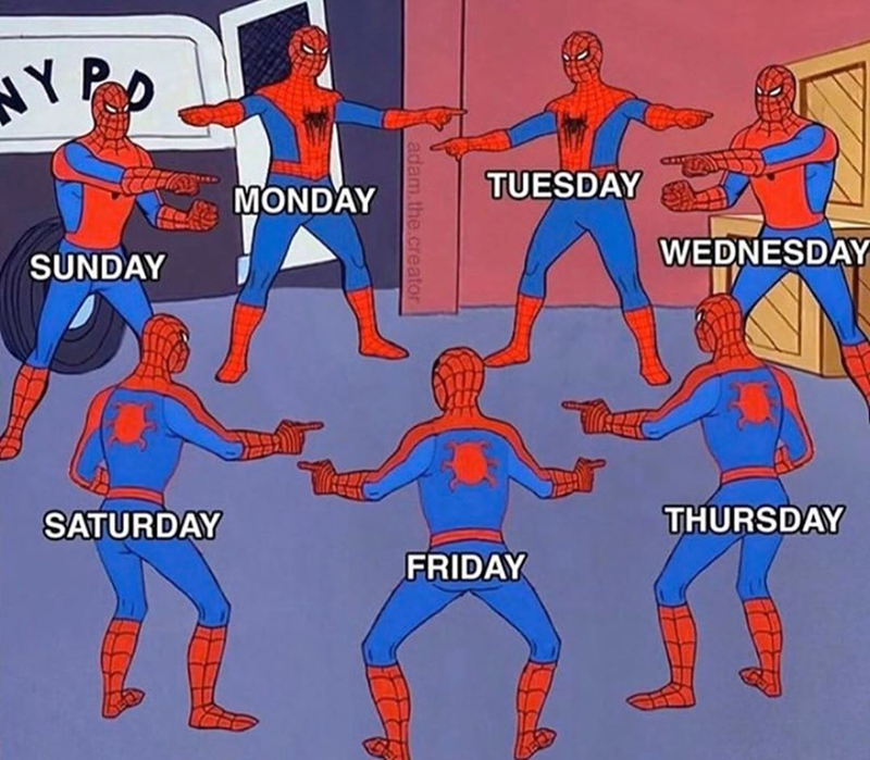 Funny meme of spider-man pointing at spider-man with the days of the week, coronavirus, quarantine memes