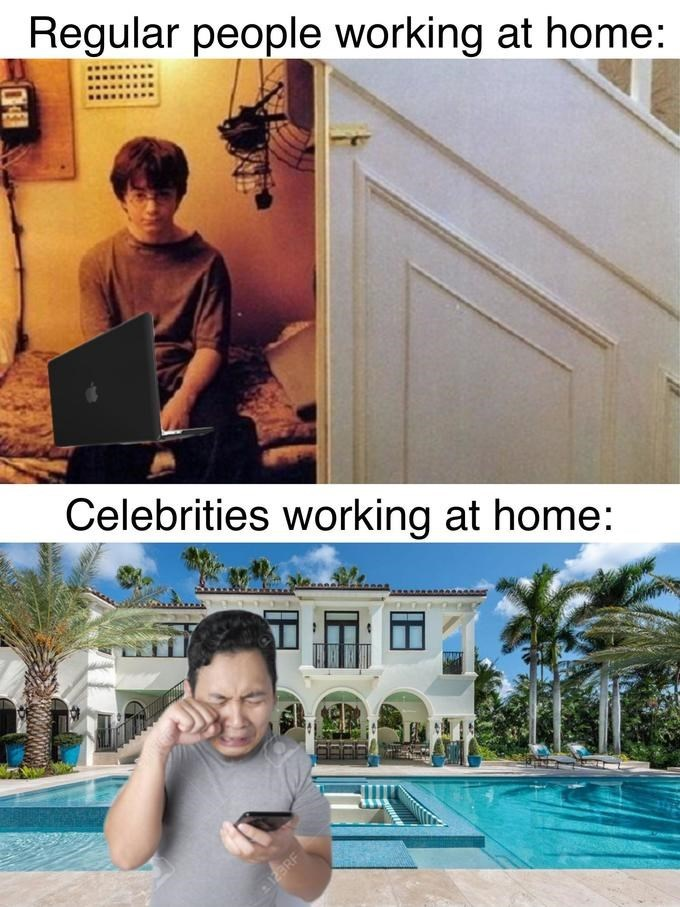 Water - Regular people working at home: Celebrities working at home: 2 123RF