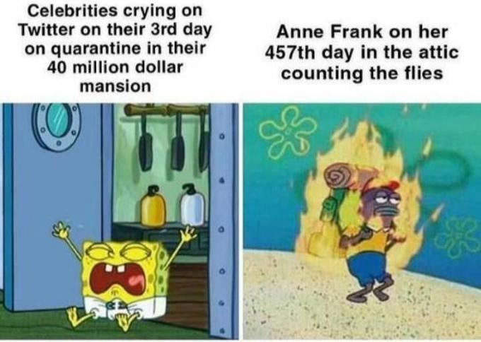 Cartoon - Celebrities crying on Twitter on their 3rd day on quarantine in their 40 million dollar mansion Anne Frank on her 457th day in the attic counting the flies
