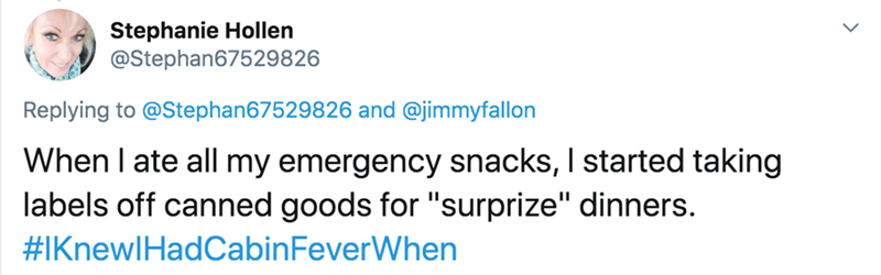 """Text - Stephanie Hollen @Stephan67529826 Replying to @Stephan67529826 and @jimmyfallon When I ate all my emergency snacks, I started taking labels off canned goods for """"surprize"""" dinners. #IKnewlHadCabinFeverWhen"""