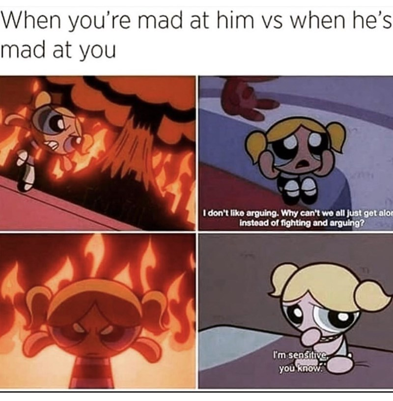 Cartoon - When you're mad at him vs when he's mad at you I don't liko arguing. Why can't wo all just get alor instead of fighting and arguing? I'm sensitive you know.