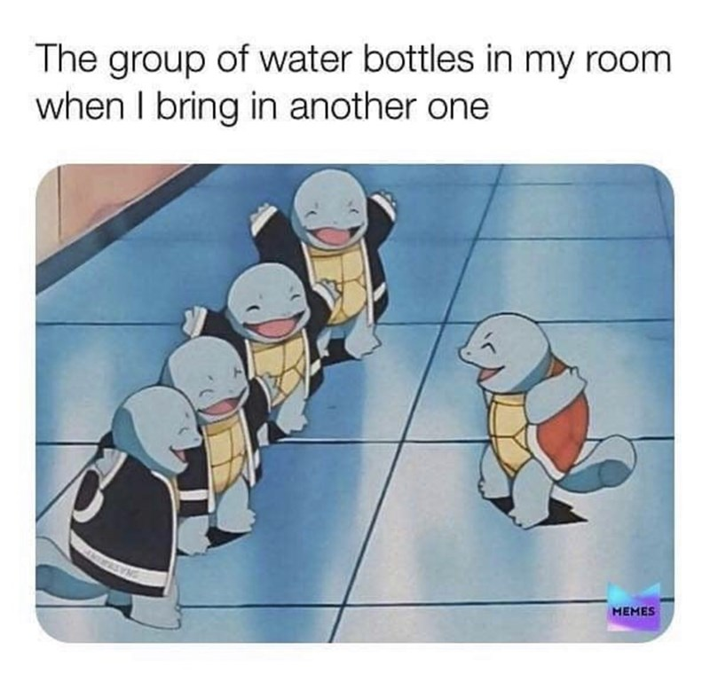 Cartoon - The group of water bottles in my room when I bring in another one MEMES
