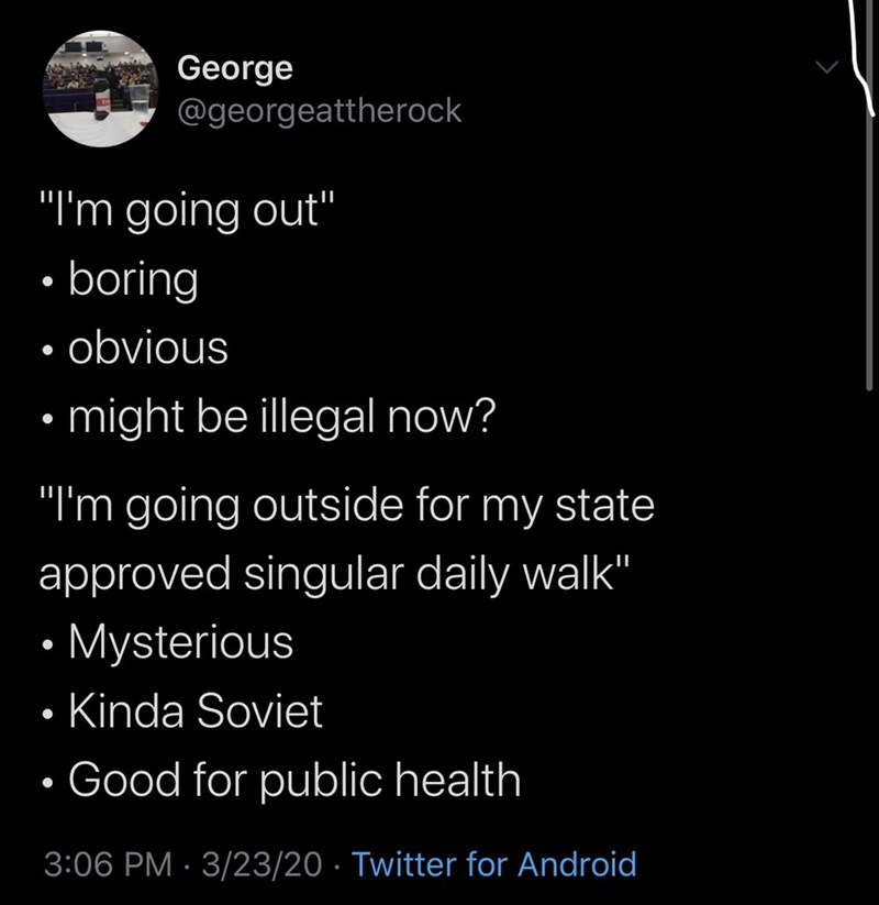 "Text - George @georgeattherock ""I'm going out"" boring • obvious • might be illegal now? ""I'm going outside for my state approved singular daily walk"" • Mysterious Kinda Soviet • Good for public health 3:06 PM · 3/23/20 · Twitter for Android"