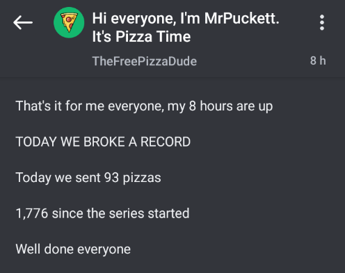 Text - Hi everyone, I'm MrPuckett. It's Pizza Time TheFreePizzaDude 8h That's it for me everyone, my 8 hours are up TODAY WE BROKE A RECORD Today we sent 93 pizzas 1,776 since the series started Well done everyone