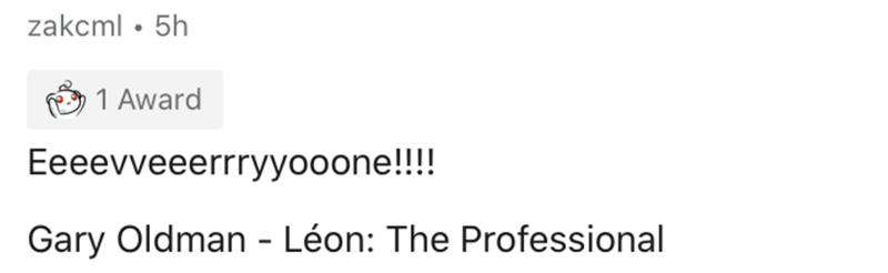 Text - zakcml • 5h 1 Award Eeeevveeerrryyooone!!! Gary Oldman - Léon: The Professional