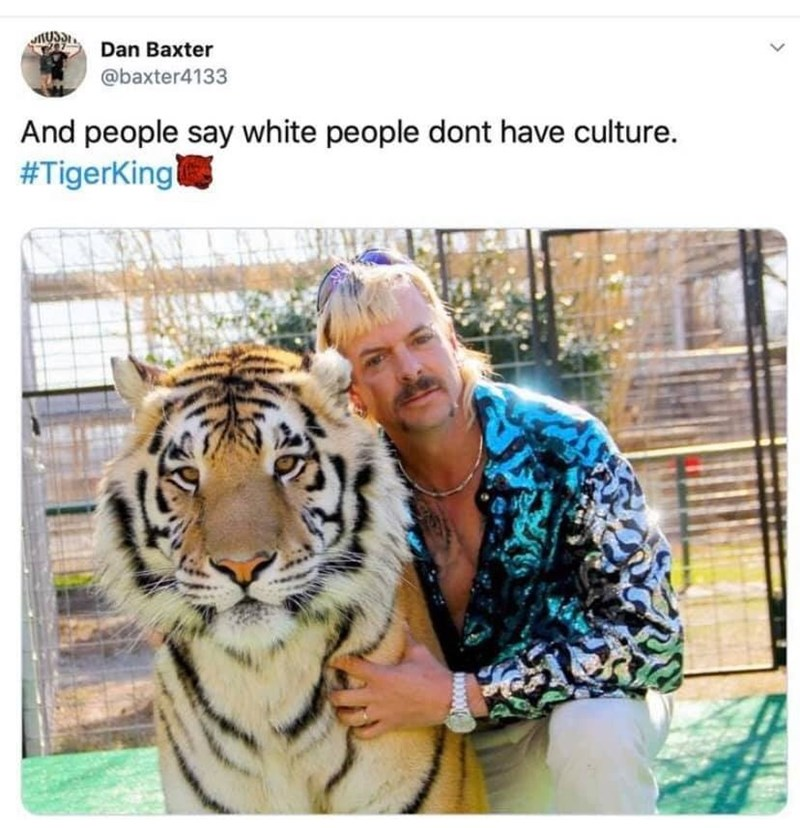 Tiger - Dan Baxter @baxter4133 And people say white people dont have culture. #TigerKing