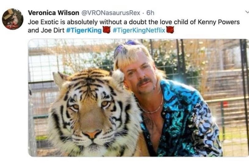 Tiger - Veronica Wilson @VRONasaurusRex 6h Joe Exotic is absolutely without a doubt the love child of Kenny Powers and Joe Dirt #Tigerking #TigerKingNetflix